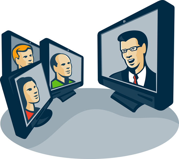 Illustration of computer screens monitor with man woman faces and presentor presenting webinar or video conferencing done in retro style.